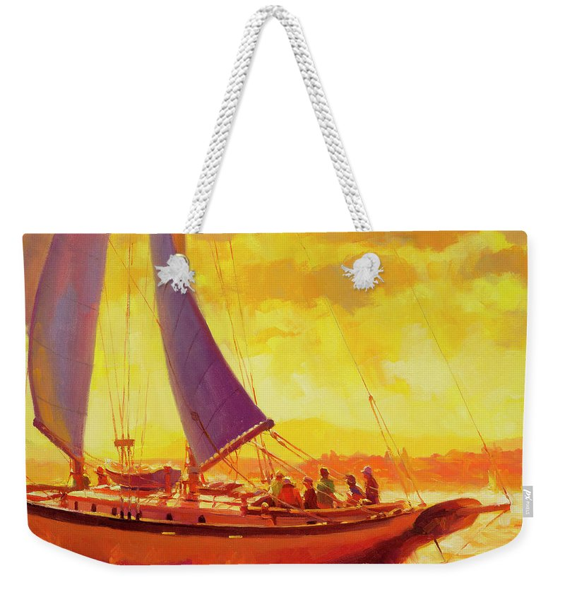 Sailing Weekender Tote Bag featuring the painting Golden Opportunity by Steve Henderson