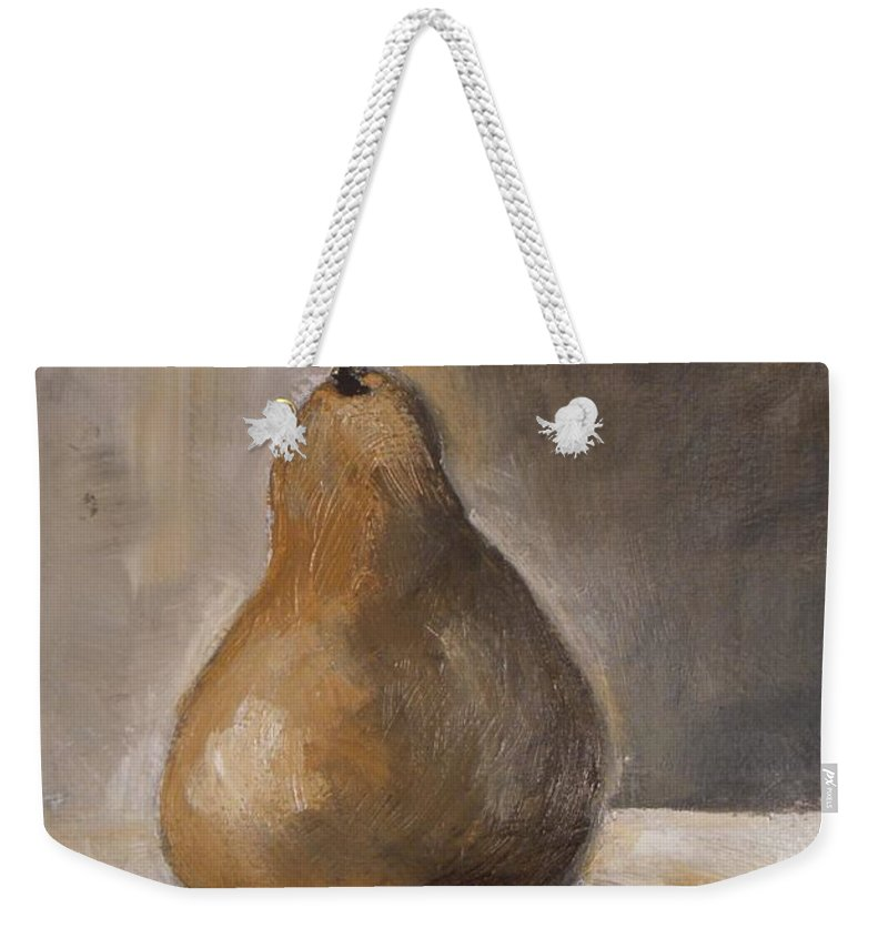 Abstract Weekender Tote Bag featuring the painting Golden Pear by Vesna Antic