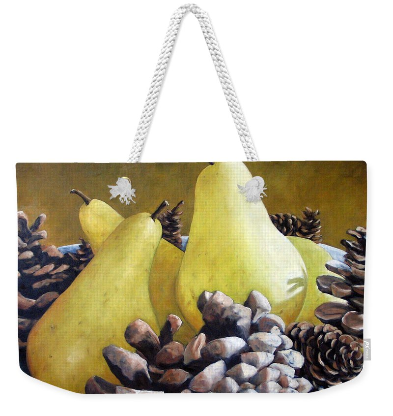 Canadian Weekender Tote Bag featuring the painting Golden Pears And Pine Cones by Richard T Pranke