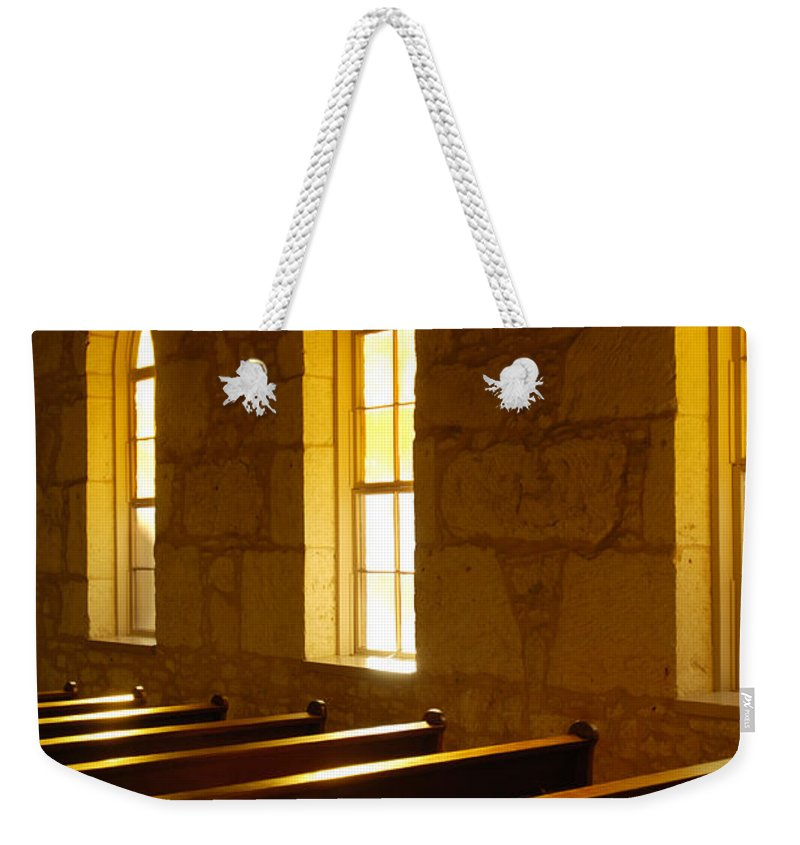 Worship Weekender Tote Bag featuring the photograph Golden Pews by Jill Reger