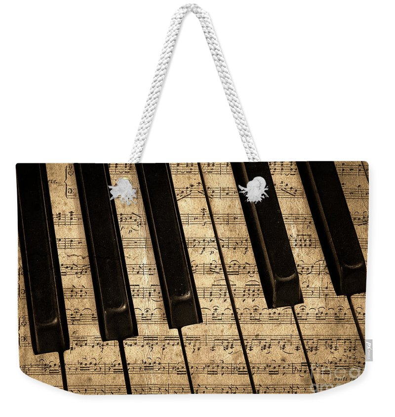Piano Weekender Tote Bag featuring the photograph Golden Pianoforte Classic by John Stephens