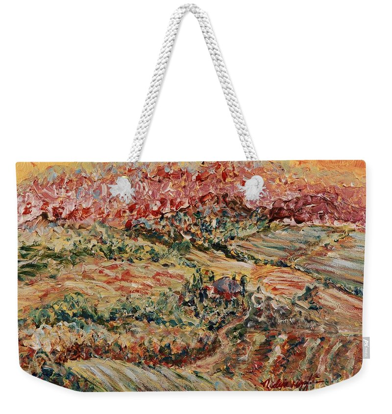 Provence Weekender Tote Bag featuring the painting Golden Provence by Nadine Rippelmeyer