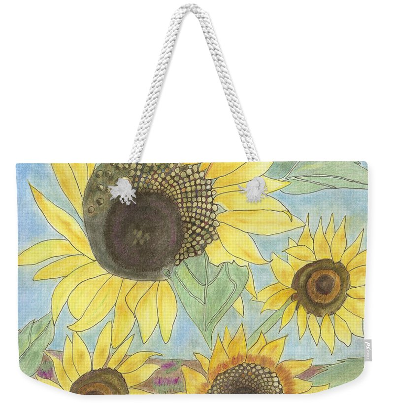 Sunflowers Weekender Tote Bag featuring the drawing Golden Quartet by Arlene Crafton