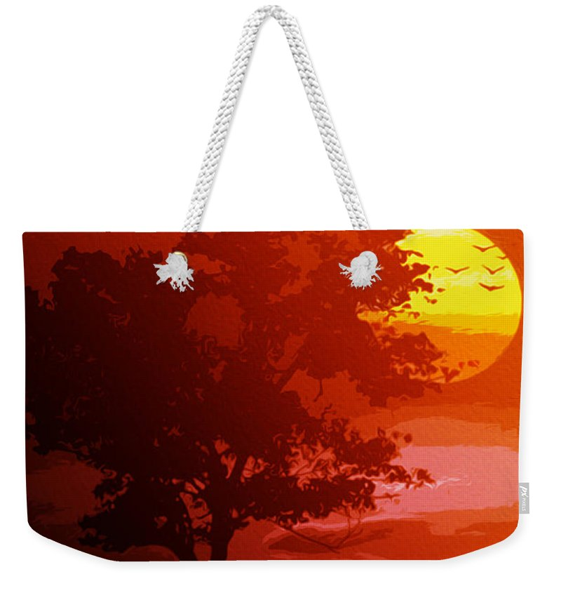 Golden Rays Weekender Tote Bag featuring the painting Golden Rays Of The Sun by Andrea Mazzocchetti