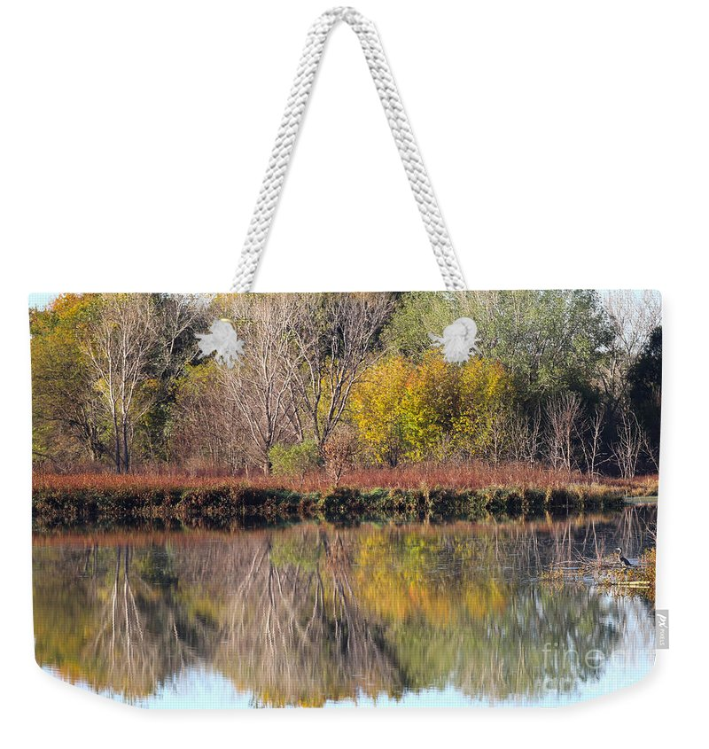 Great Blue Heron Weekender Tote Bag featuring the photograph Golden Reflections by Elizabeth Winter
