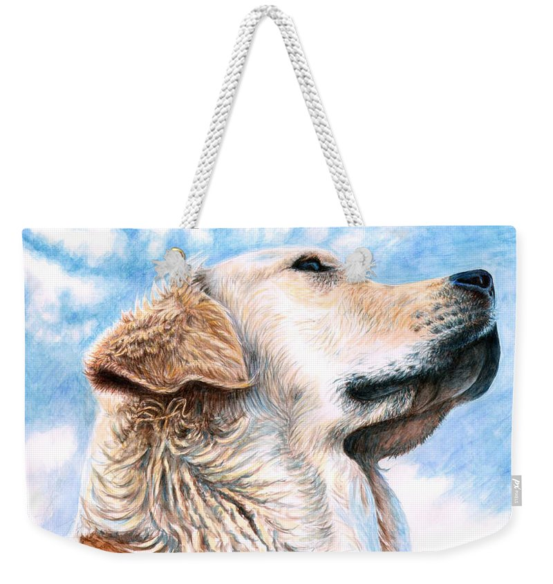 Dog Weekender Tote Bag featuring the painting Golden Retriever by Nicole Zeug