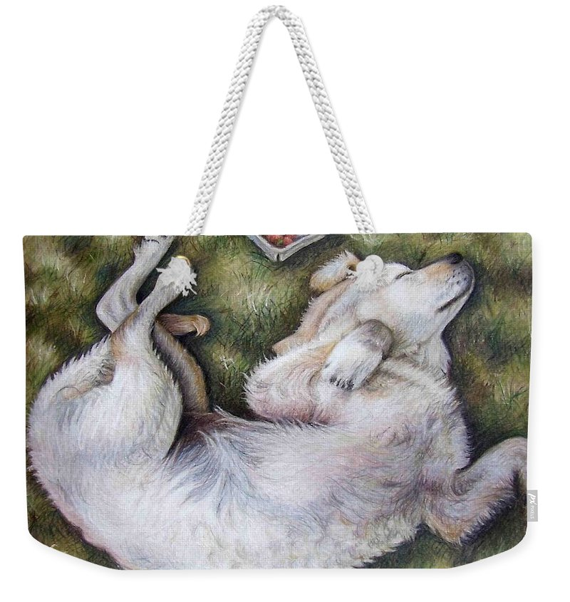 Dog Weekender Tote Bag featuring the pastel Golden Retriever Puppy by Nicole Zeug