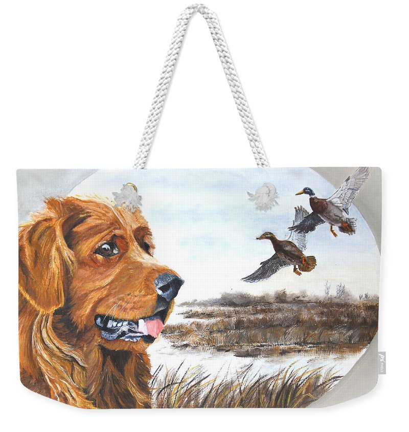 Dog Weekender Tote Bag featuring the painting Golden Retriever With Marsh Scene by Johanna Lerwick