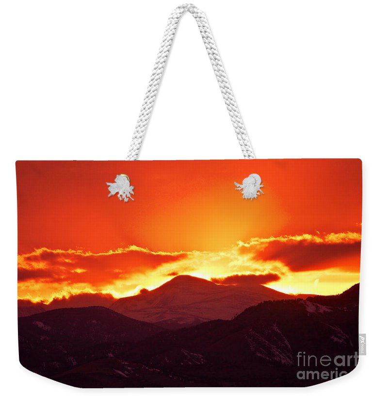Sunset Weekender Tote Bag featuring the photograph Golden Rocky Mountain Sunset by James BO Insogna