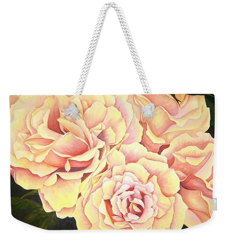 Roses Weekender Tote Bag featuring the painting Golden Roses by Rowena Finn