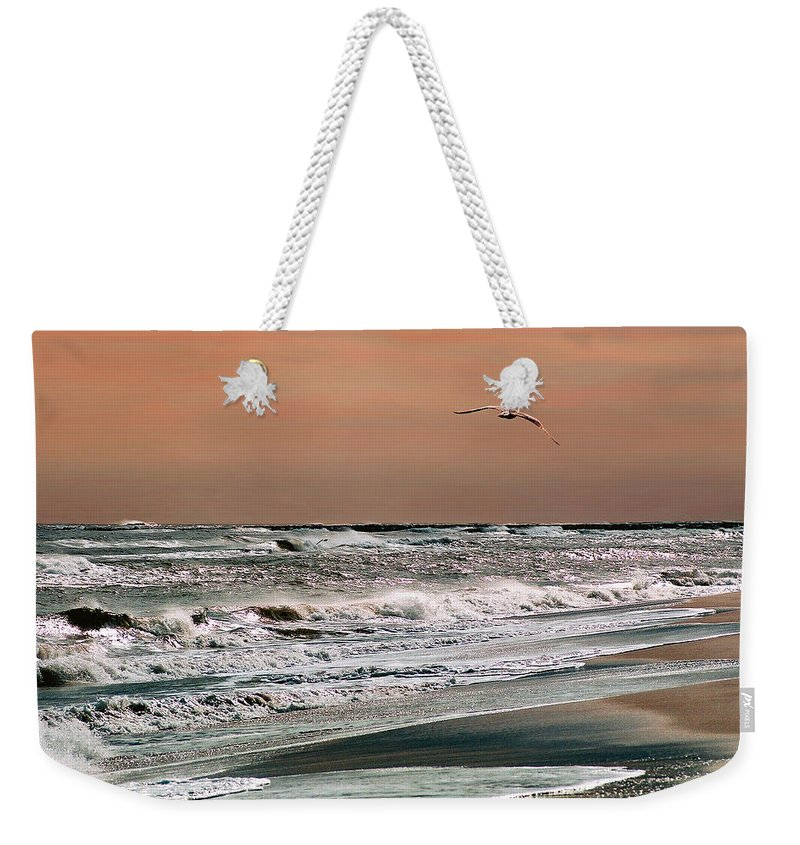 Seascape Weekender Tote Bag featuring the photograph Golden Shore by Steve Karol