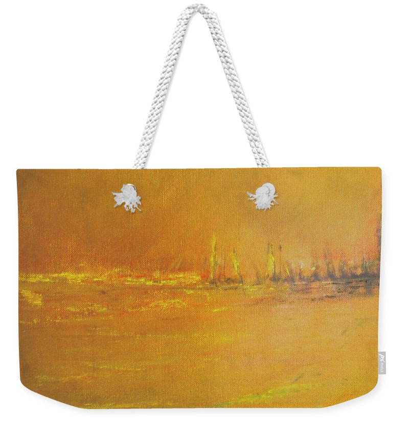 Ships Weekender Tote Bag featuring the painting Golden Sky by Jack Diamond