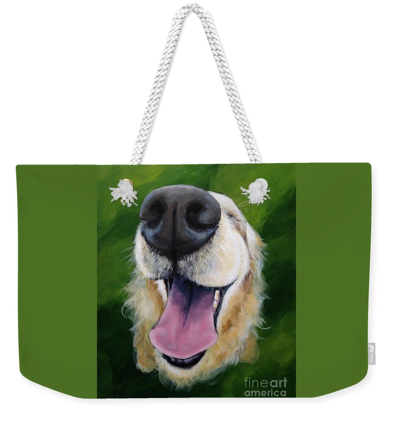 Dog Weekender Tote Bag featuring the painting Golden Smile by June Huff