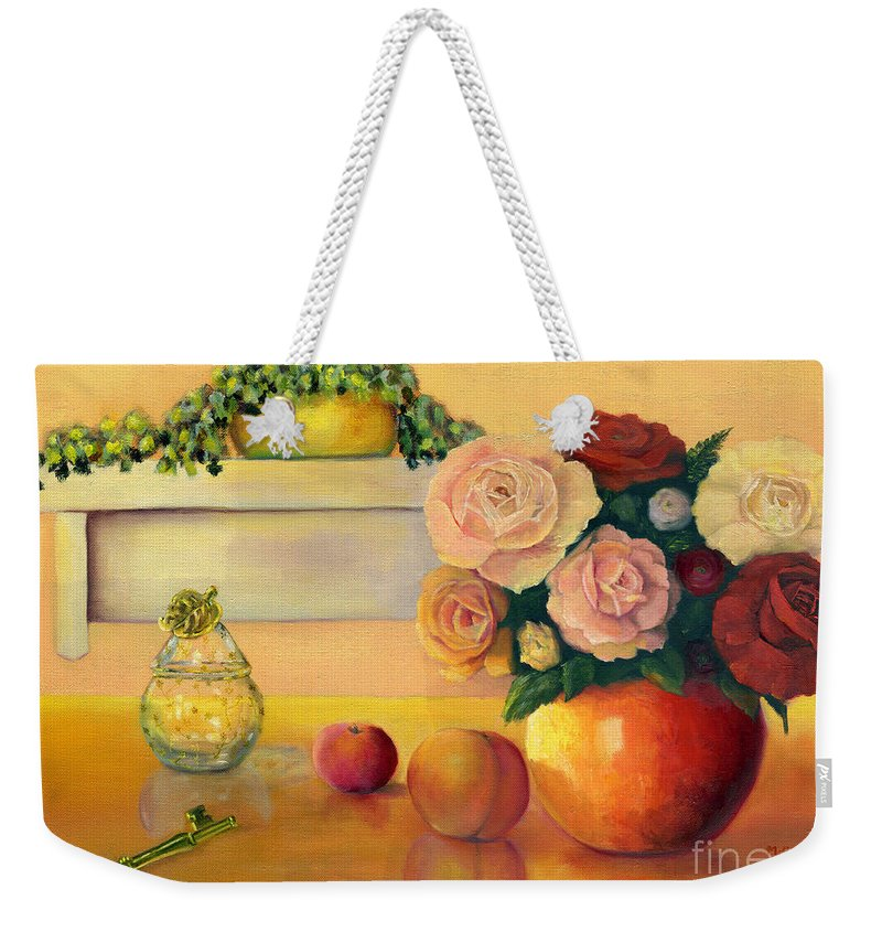 Still Life Weekender Tote Bag featuring the painting Golden Still Life by Marlene Book