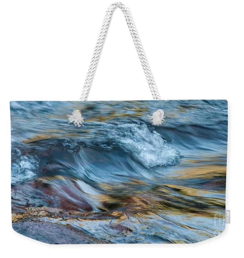 Rivers Weekender Tote Bag featuring the photograph Golden Strands Of Water by Sandra Bronstein