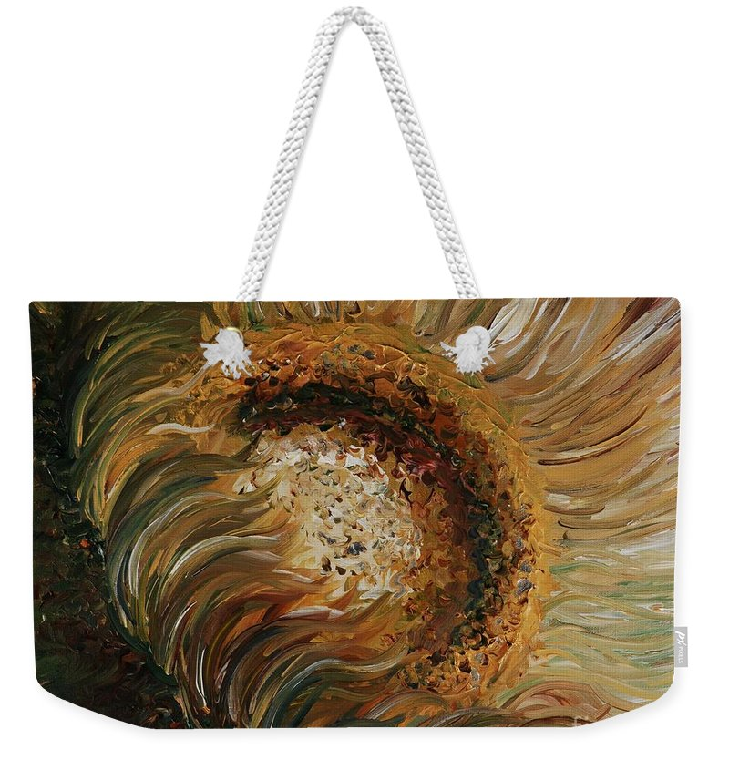 Sunflower Weekender Tote Bag featuring the painting Golden Sunflower by Nadine Rippelmeyer
