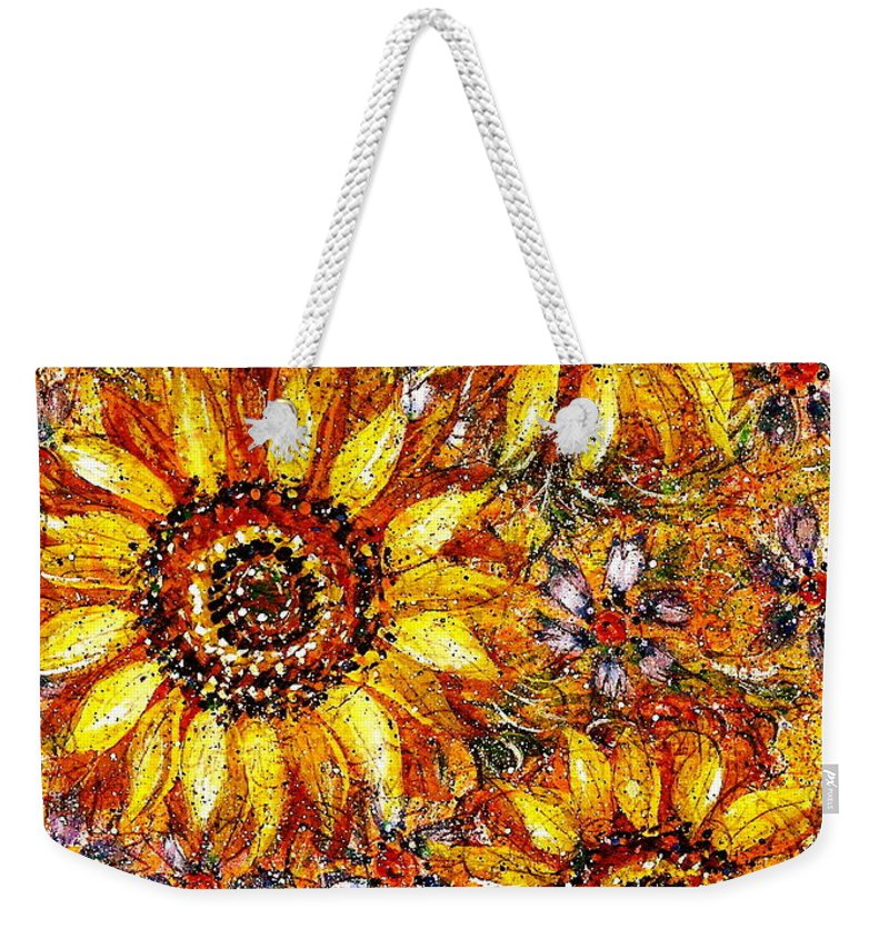 Sunflowers Weekender Tote Bag featuring the painting Golden Sunflower by Natalie Holland
