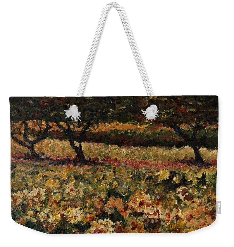 Landscape Weekender Tote Bag featuring the painting Golden Sunflowers by Nadine Rippelmeyer