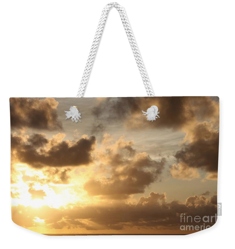 Sunrise Weekender Tote Bag featuring the photograph Golden Sunrise On Kauai by Nadine Rippelmeyer