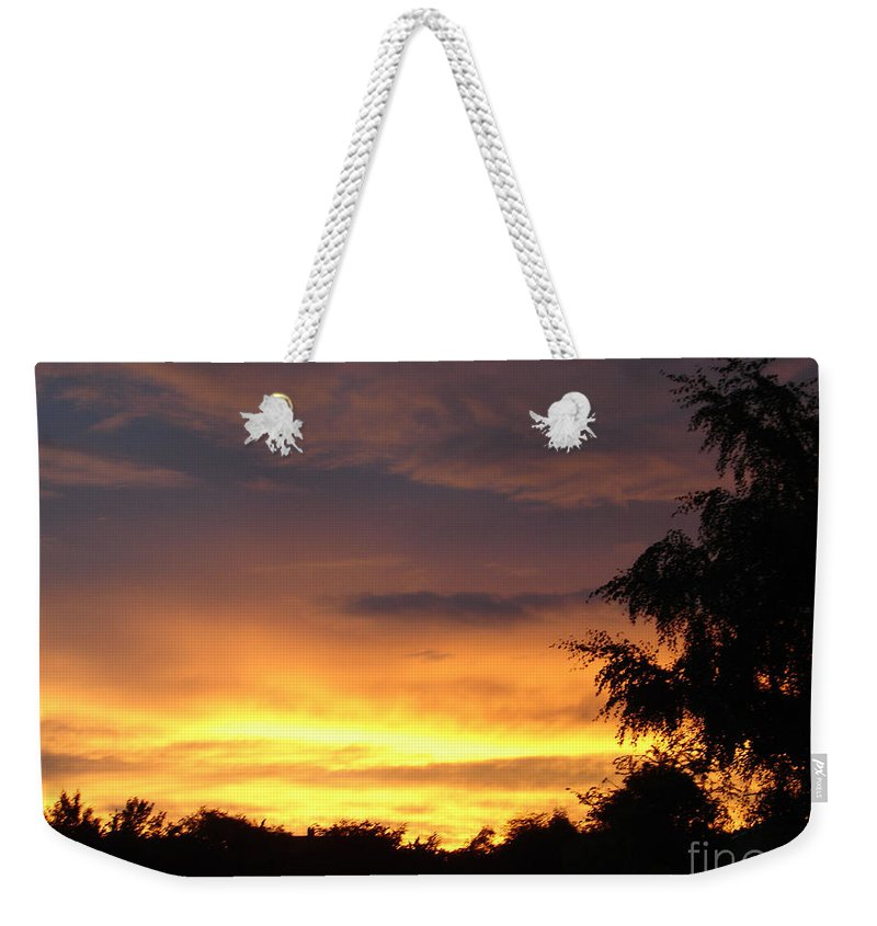 Sunset Weekender Tote Bag featuring the photograph Golden Sunset 2 by Carol Lynch