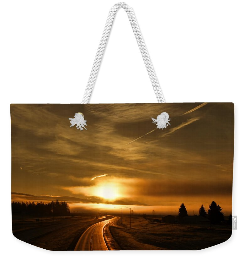 Weekender Tote Bag featuring the photograph Golden Sunsets by Cathy Anderson