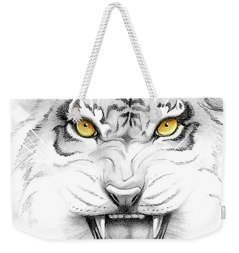 Amber Weekender Tote Bag featuring the digital art Golden Tiger Eyes by Melissa A Benson