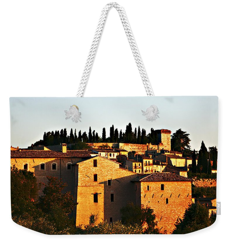 Church Weekender Tote Bag featuring the photograph Golden Town by Marilyn Hunt