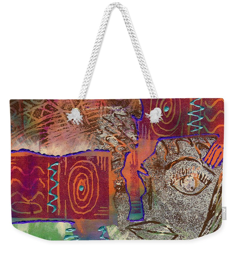 Woman Weekender Tote Bag featuring the painting Golden Truth by Angela L Walker