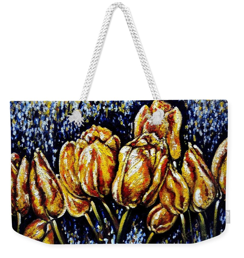 Tulips Weekender Tote Bag featuring the painting Golden Tulips by Harsh Malik