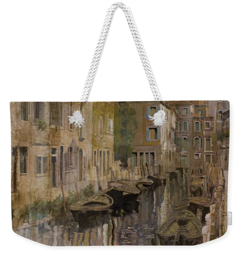Venice Weekender Tote Bag featuring the painting Golden Venice by Guido Borelli