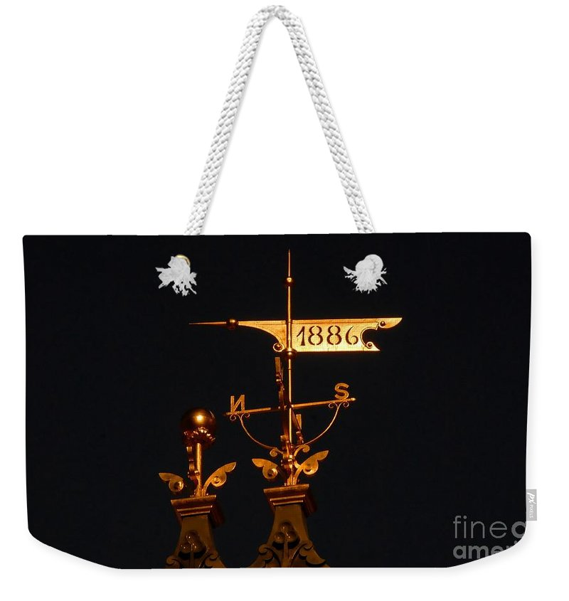 Wind Vain Weekender Tote Bag featuring the photograph Golden Wind Vain by David Lee Thompson