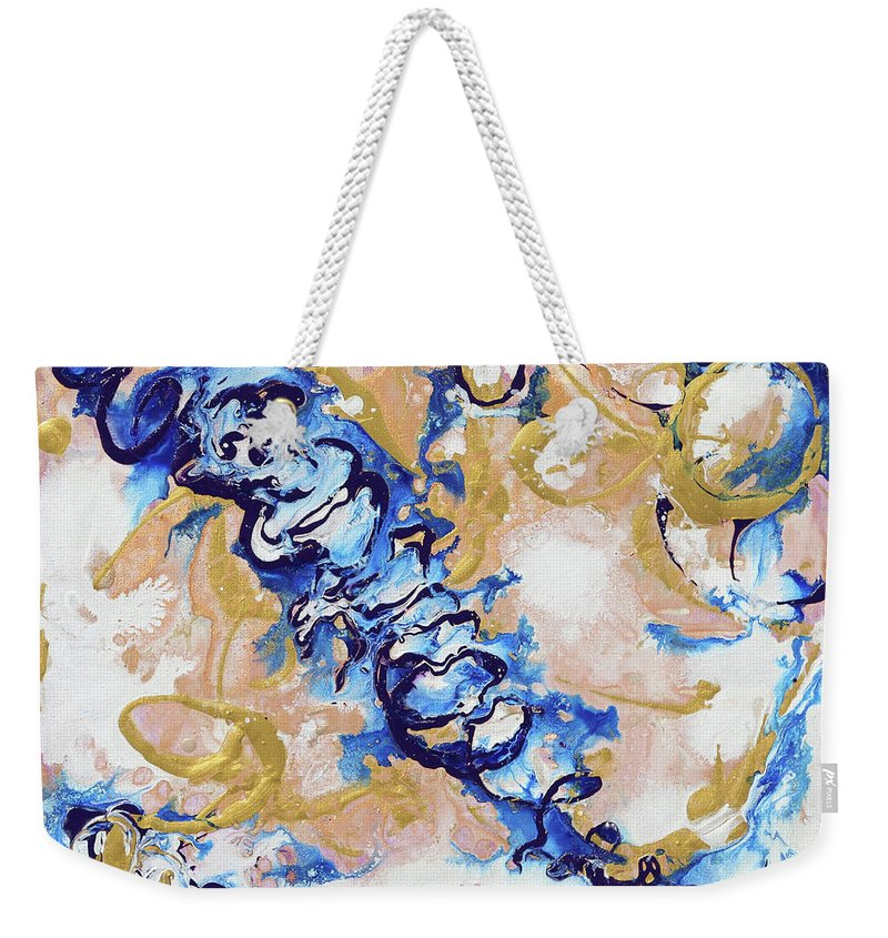 Golden Blue Weekender Tote Bag featuring the painting Goldenbluecollision by Jewells Jones