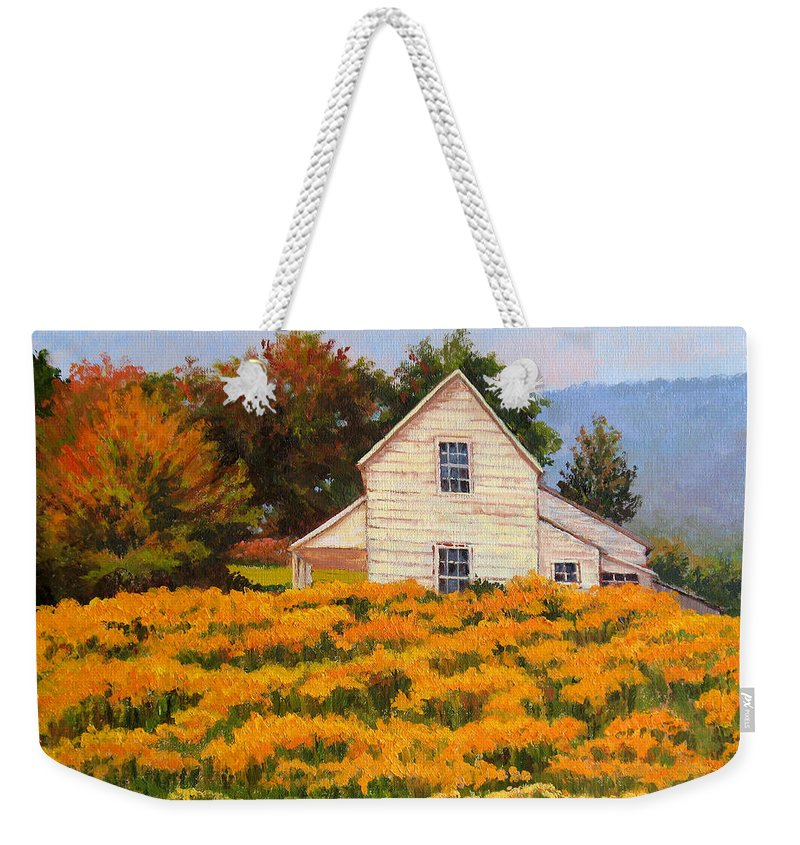 Impressionism Weekender Tote Bag featuring the painting Goldenrod Time by Keith Burgess