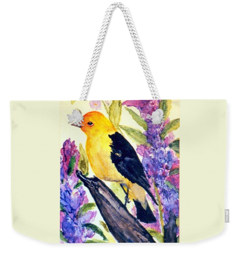 Birds Weekender Tote Bag featuring the painting Goldfinch by Gail Kirtz