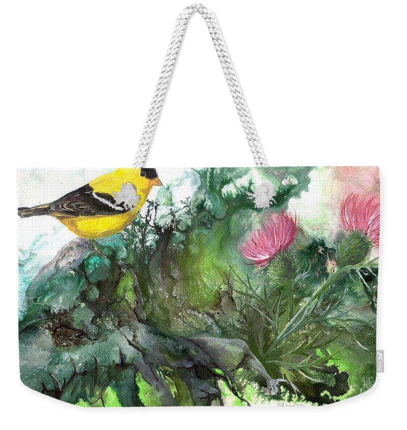 Bird Weekender Tote Bag featuring the painting Goldfinch by Sherry Shipley