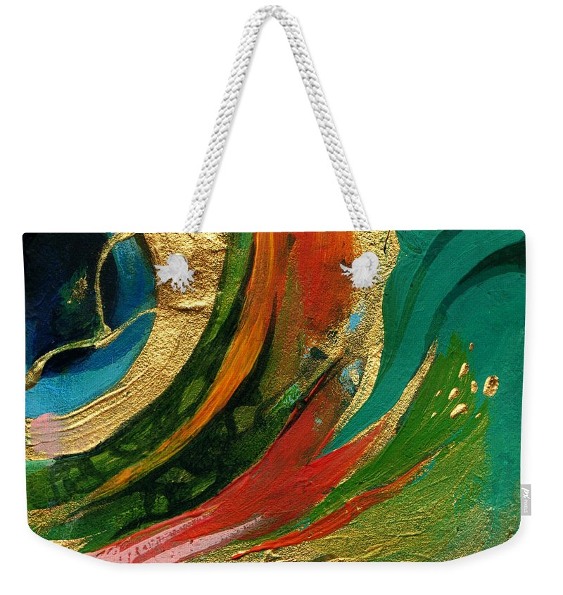 Lin Petershagen Weekender Tote Bag featuring the painting Goldy by Lin Petershagen