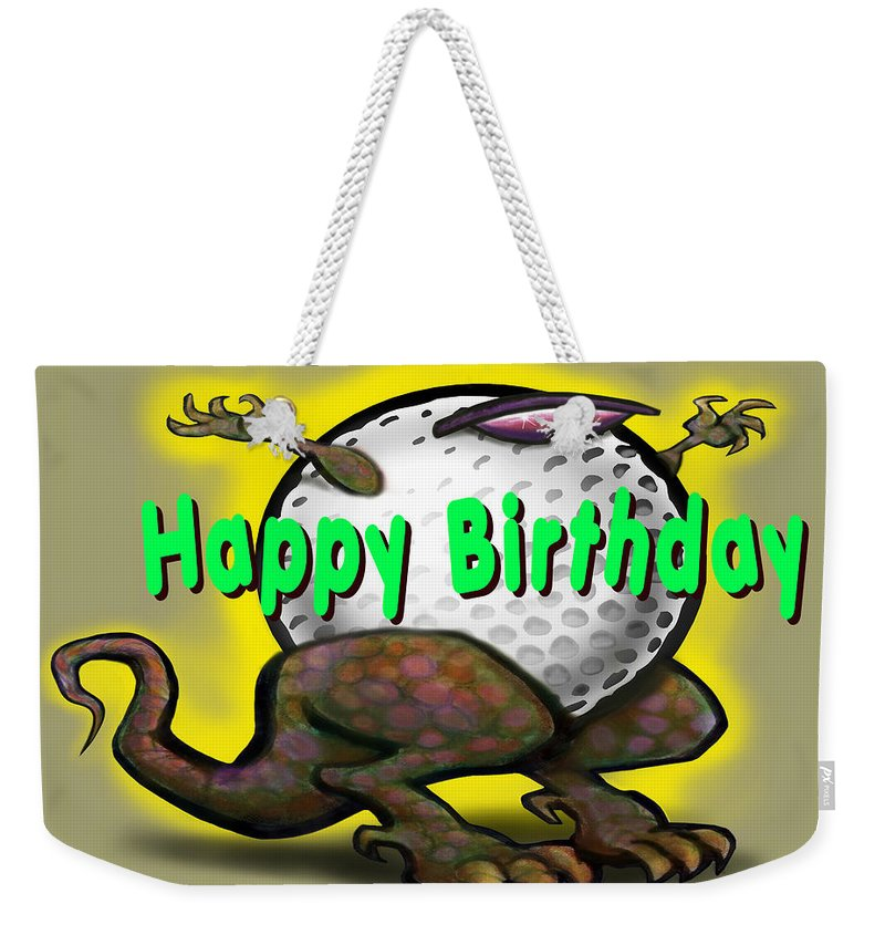 Golf Weekender Tote Bag featuring the greeting card Golf A Saurus Birthday by Kevin Middleton
