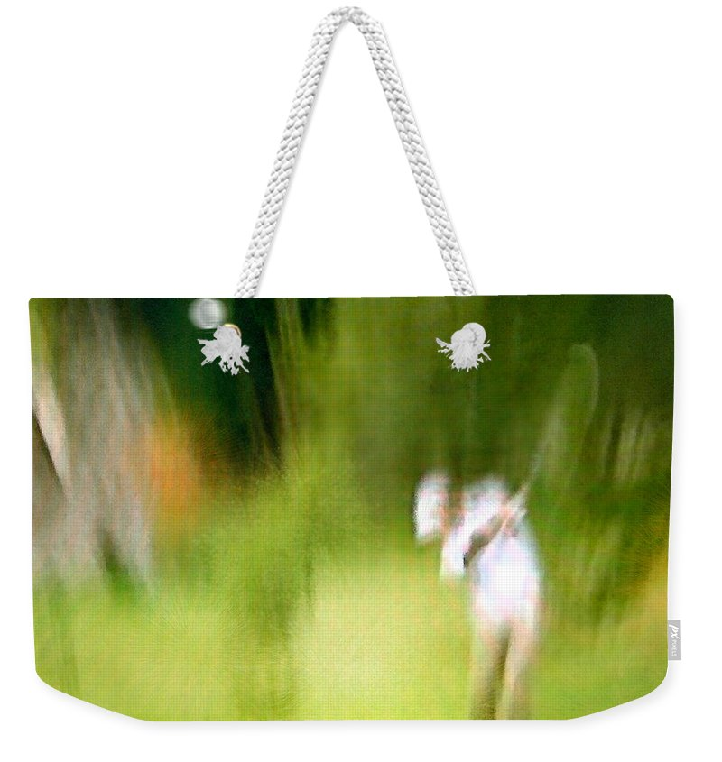 Golf Weekender Tote Bag featuring the painting Golf At The Blue Monster In Doral Florida 01 by Miki De Goodaboom
