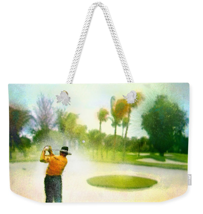 Golf Weekender Tote Bag featuring the painting Golf At The Blue Monster In Doral Florida 02 by Miki De Goodaboom