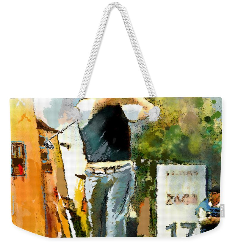 Golf Weekender Tote Bag featuring the painting Golf In Club Fontana Austria 01 Dyptic Part 01 by Miki De Goodaboom