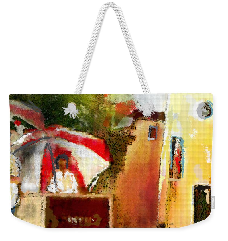 Golf Painting Golfer Sport Pga Tour Club Fontana Vienna Austria Austria Open Weekender Tote Bag featuring the painting Golf In Club Fontana Austria 01 Dyptic Part 02 by Miki De Goodaboom