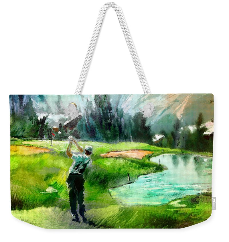 Golf Weekender Tote Bag featuring the painting Golf In Crans Sur Sierre Switzerland 01 by Miki De Goodaboom