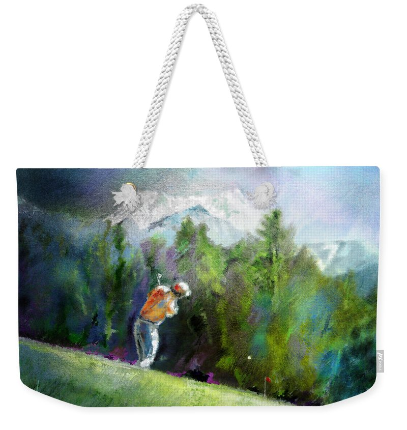 Golf Weekender Tote Bag featuring the painting Golf In Crans Sur Sierre Switzerland 02 by Miki De Goodaboom