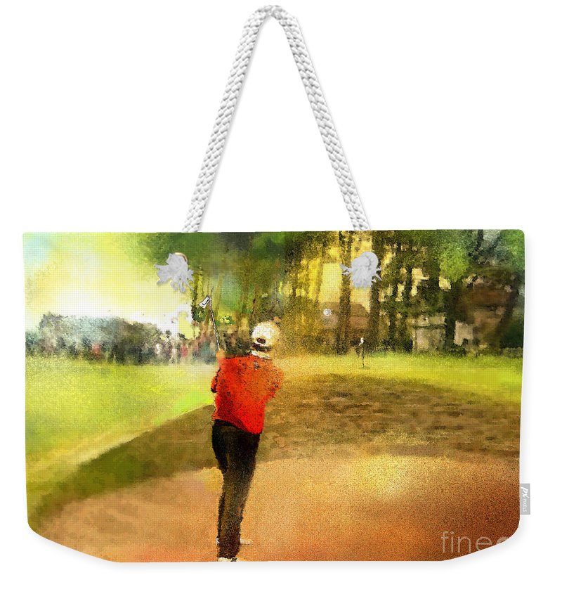 Golf Weekender Tote Bag featuring the painting Golf In Scotland Saint Andrews 01 by Miki De Goodaboom