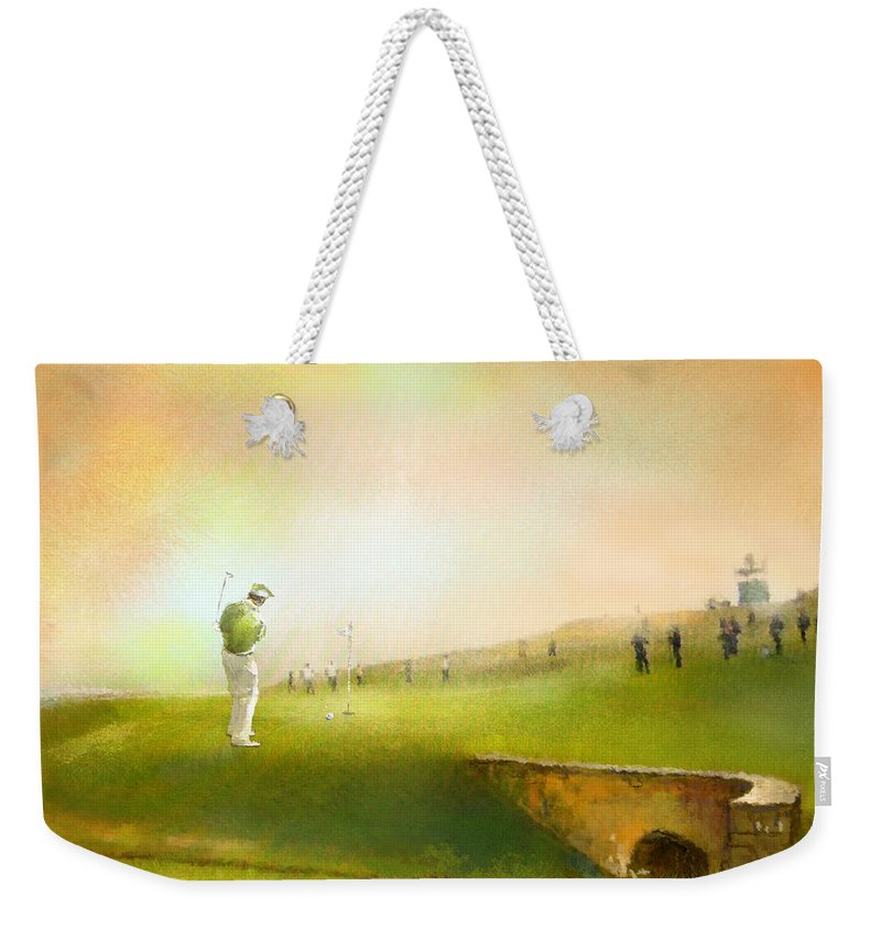 Golf Weekender Tote Bag featuring the painting Golf In Scotland Saint Andrews 02 by Miki De Goodaboom