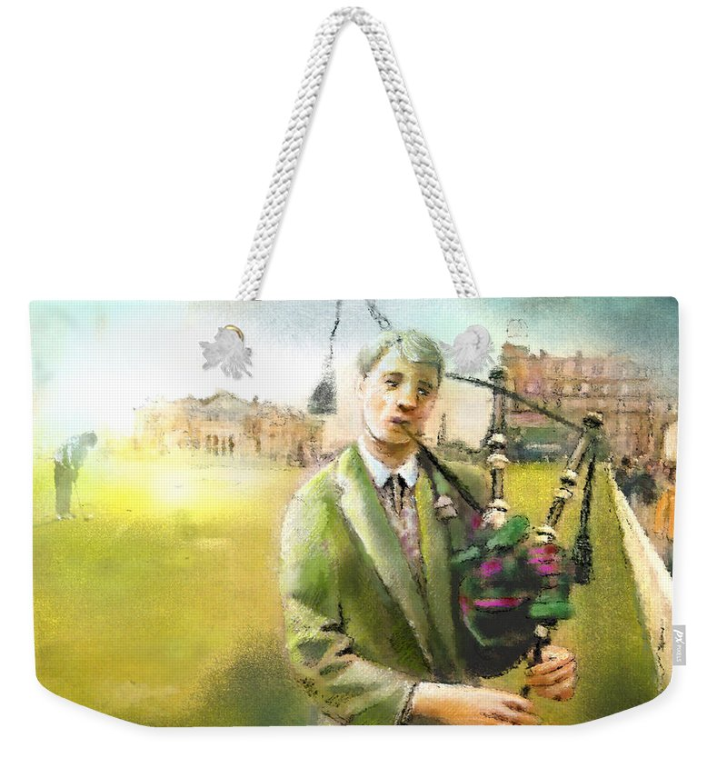 Golf Weekender Tote Bag featuring the painting Golf In Scotland Saint Andrews 03 by Miki De Goodaboom