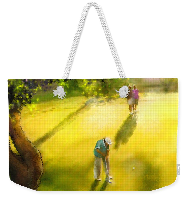 Golf Weekender Tote Bag featuring the painting Golf In Spain Castello Masters 01 by Miki De Goodaboom