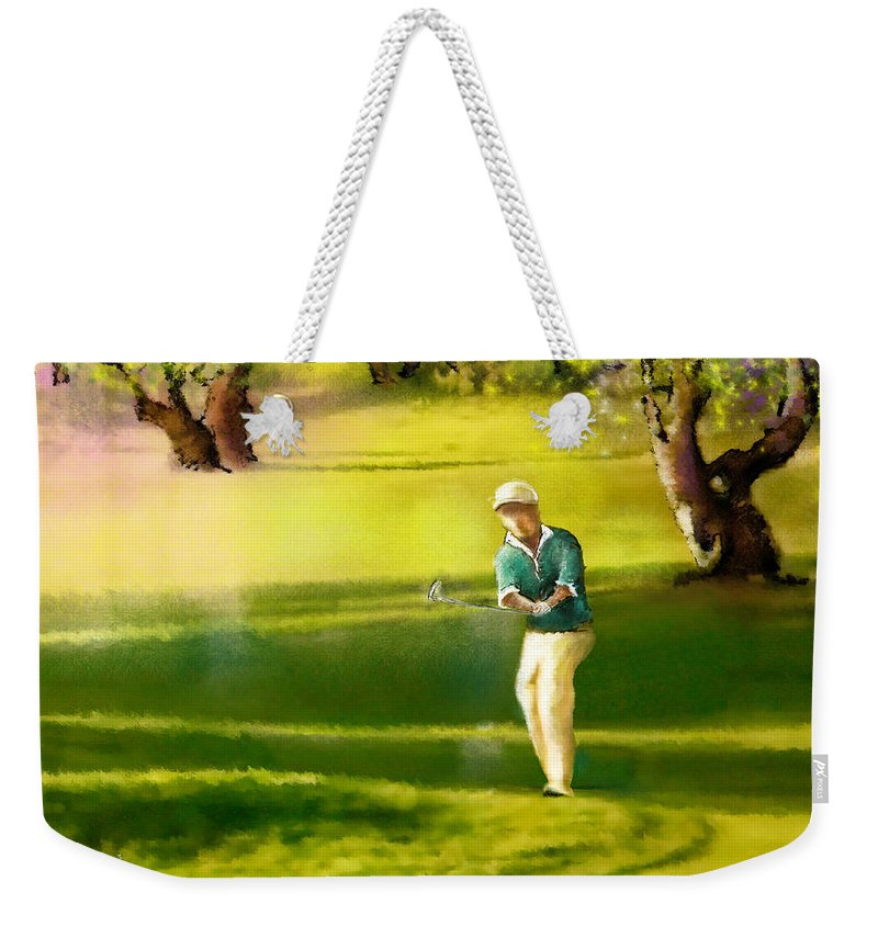 Sports Weekender Tote Bag featuring the painting Golf In Spain Castello Masters 02 by Miki De Goodaboom
