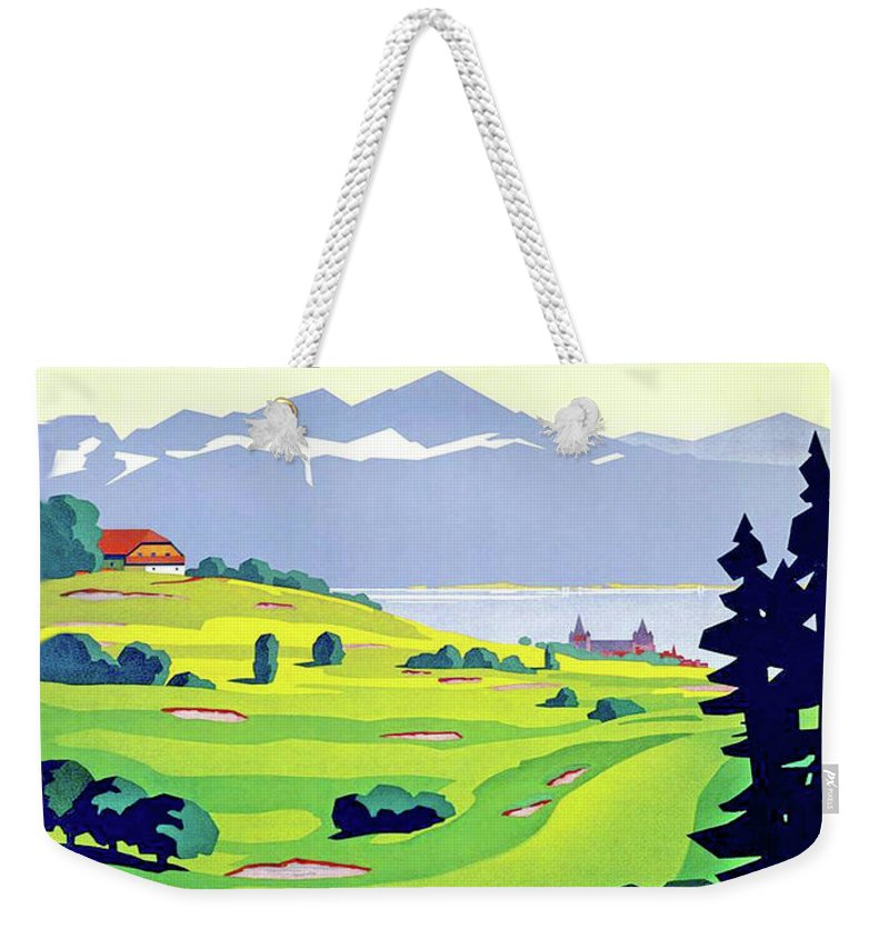 Golf Weekender Tote Bag featuring the digital art Golf, Lausanne, Switzerland, Travel Poster by Long Shot