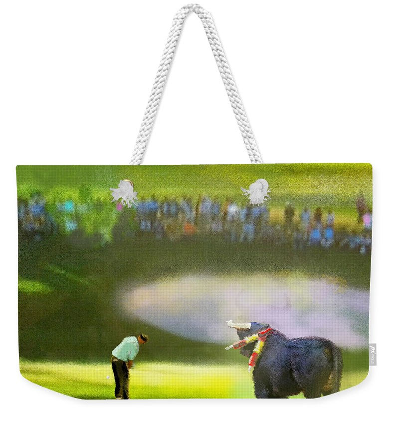 Golf Weekender Tote Bag featuring the painting Golf Madrid Masters 03 by Miki De Goodaboom